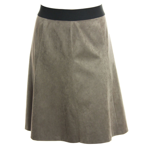 Alfani Taupe Faux Suede Pull On Elastic Waist A-Line Skirt