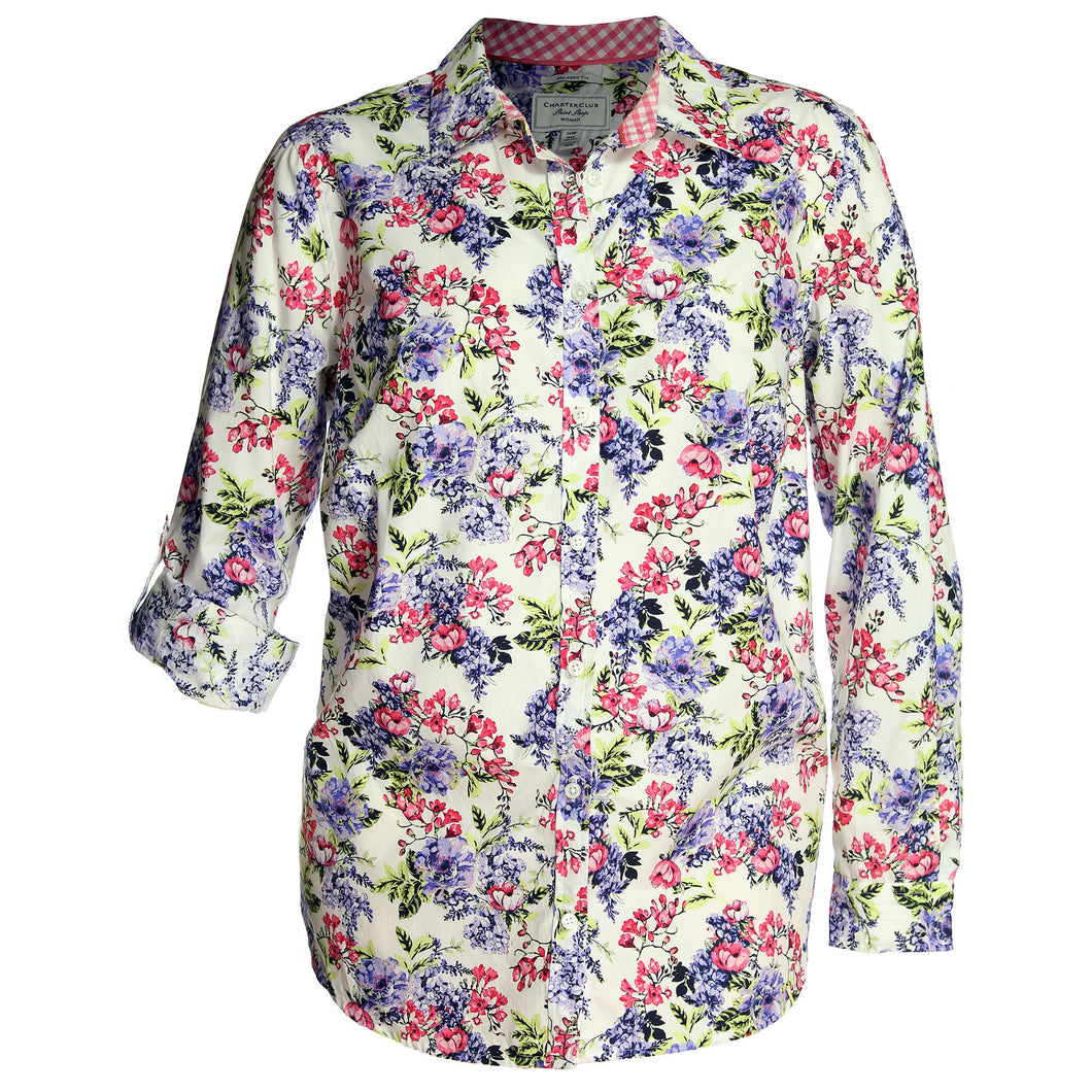 Charter Club Multi Color Floral Convertible Sleeve Button Down Shirt