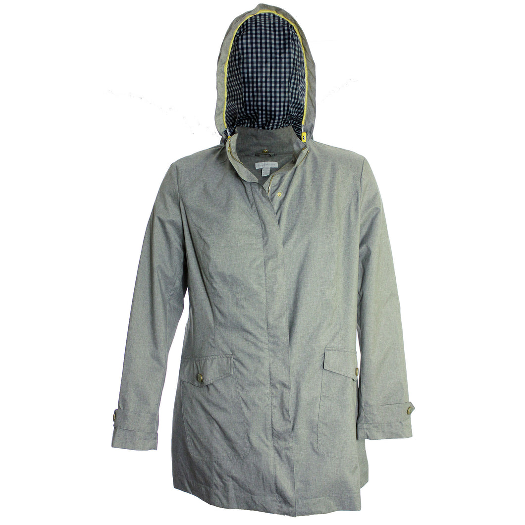 Charter Club Grey Long Sleeve Hooded Anorak Jacket Coat
