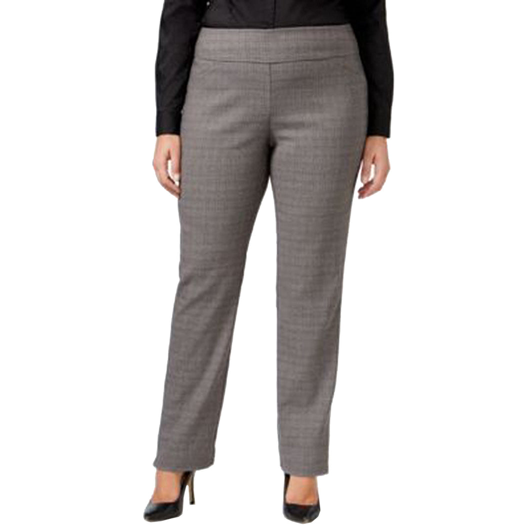 Charter Club Gray Plaid Tummy Slimming Pull on Slim Leg Pants Plus Size