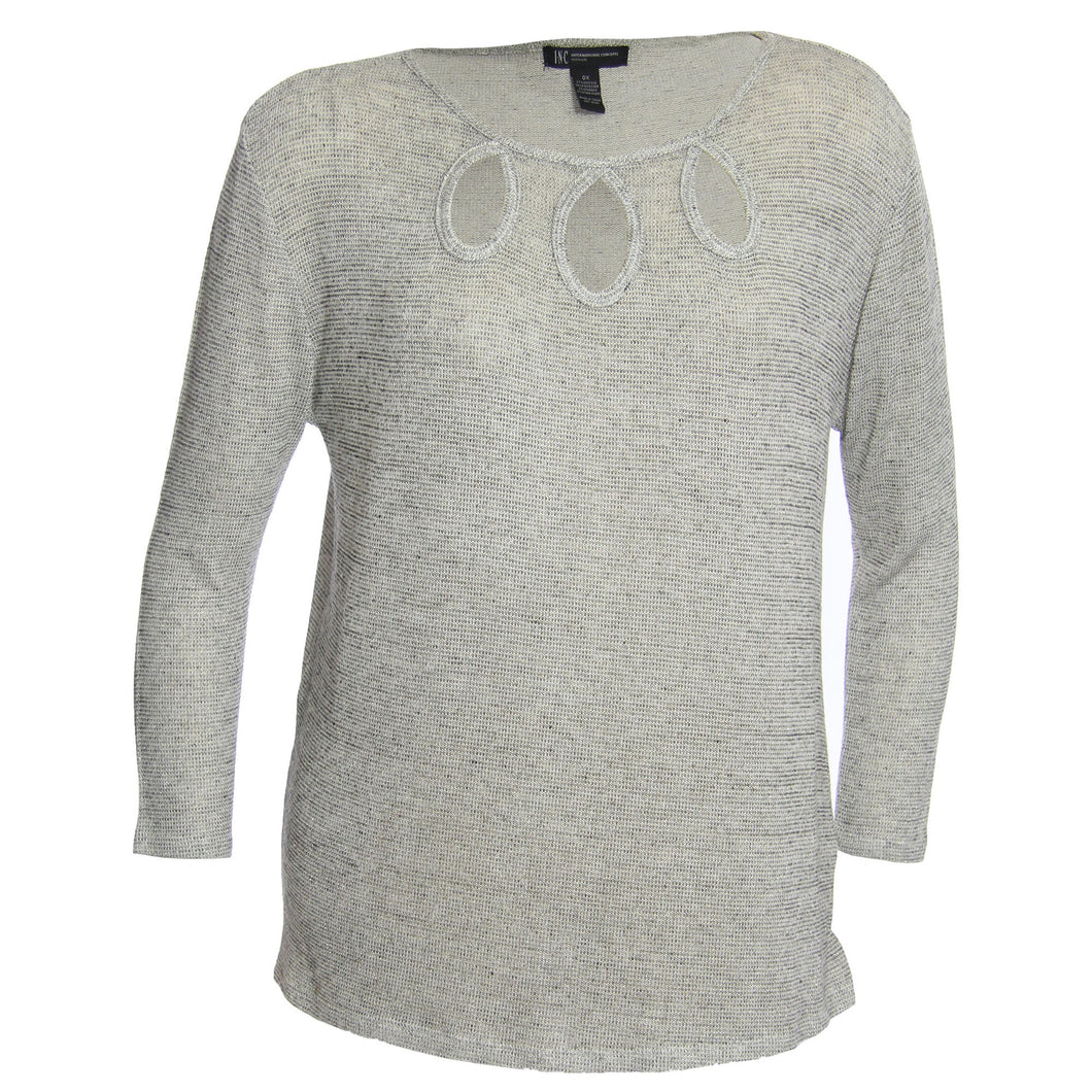 INC Gray Shimmer Long Sleeve Keyhole Neckline Knit Top