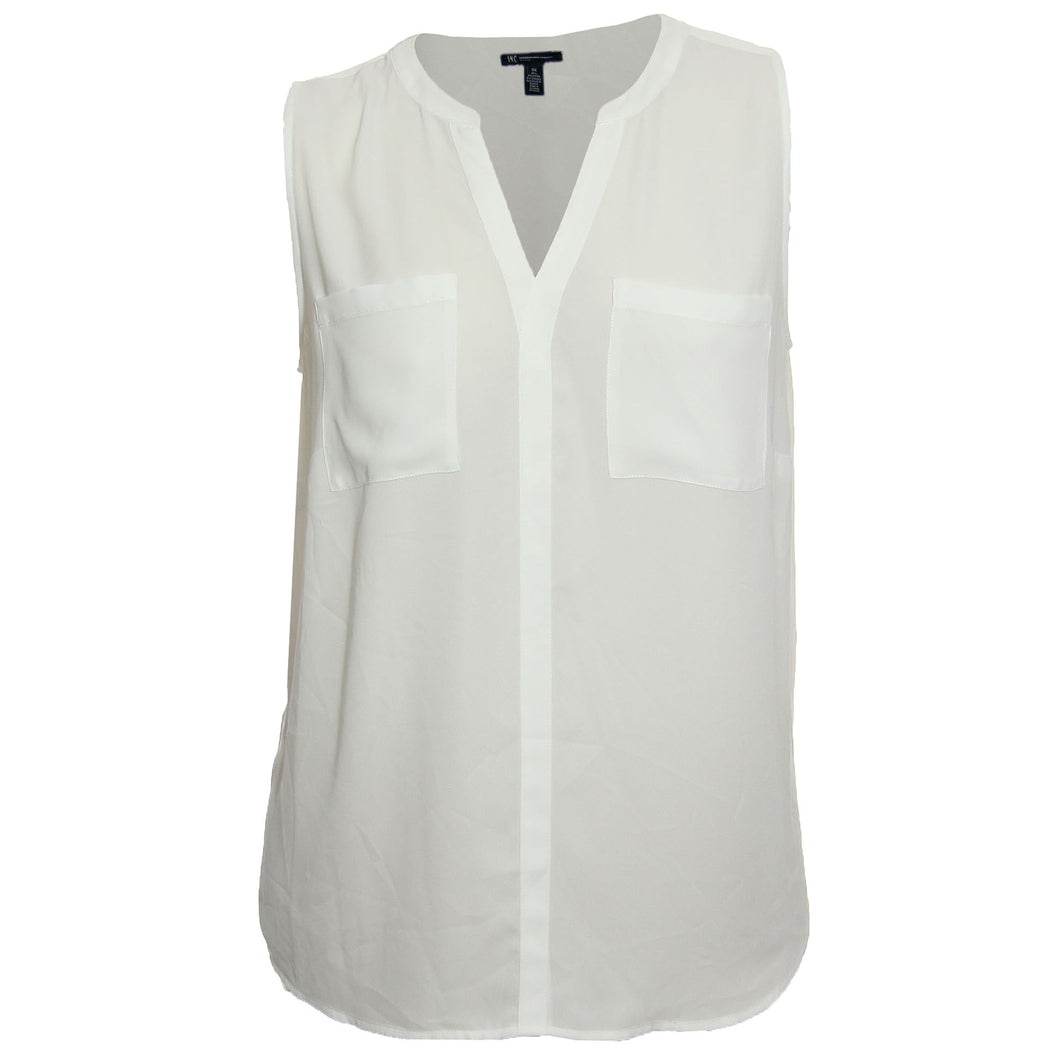 INC Washed White Sleeveless Split Neck Blouse