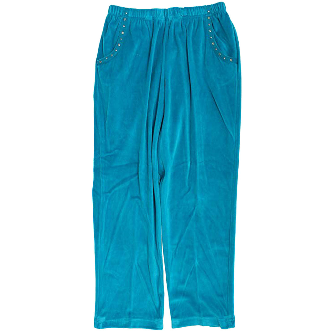 Alfred Dunner Blue Pull on Classic Fit Velour Lounge Pants Plus Size