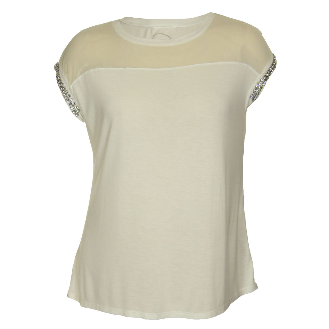 INC White Short Rhinestone Embellished Slv Sheer Yoke Knit Top
