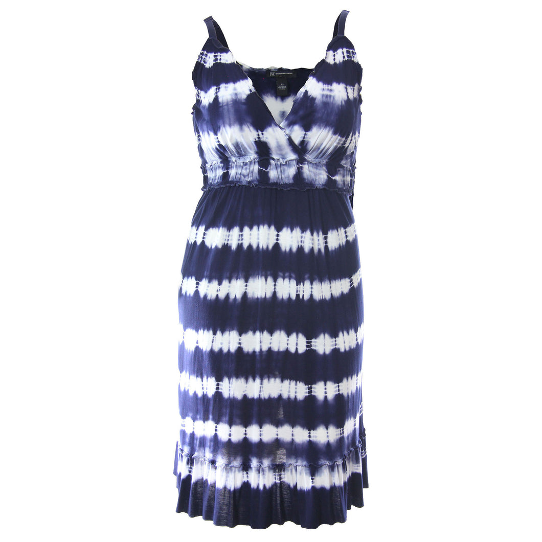 INC Multi Color Tie Dye Sleeveless Ruffed V-neck Dress