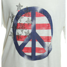 INC White American Flag / Peace Sign Short Sleeve Knit Top Tee