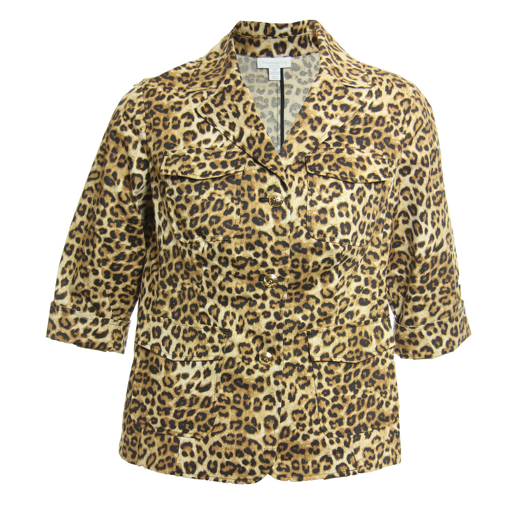 Charter Club Multi Color Animal Print 3/4 Sleeve Cotton Jacket