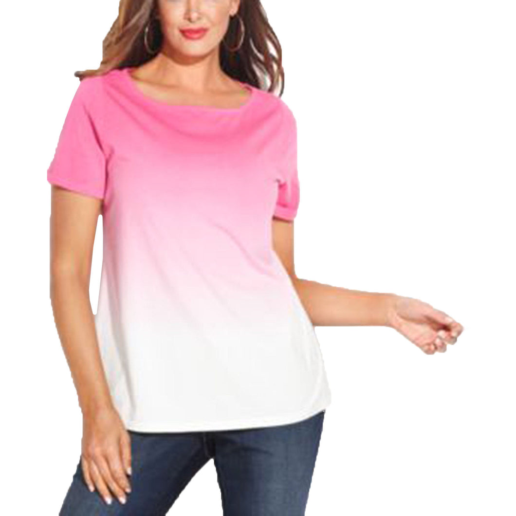 INC Pink Ombre Tie Dye Short Sleeve Knit Top Plus Size