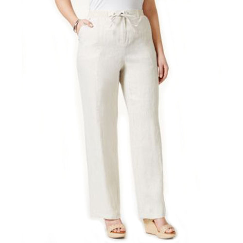JM Collection Beige Drawstring Waist Linen Pants Plus Size