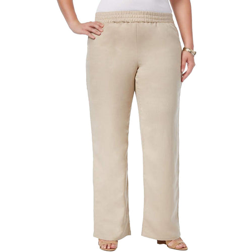 JM Collection Beige Pull on Linen Blend Pants Plus Size