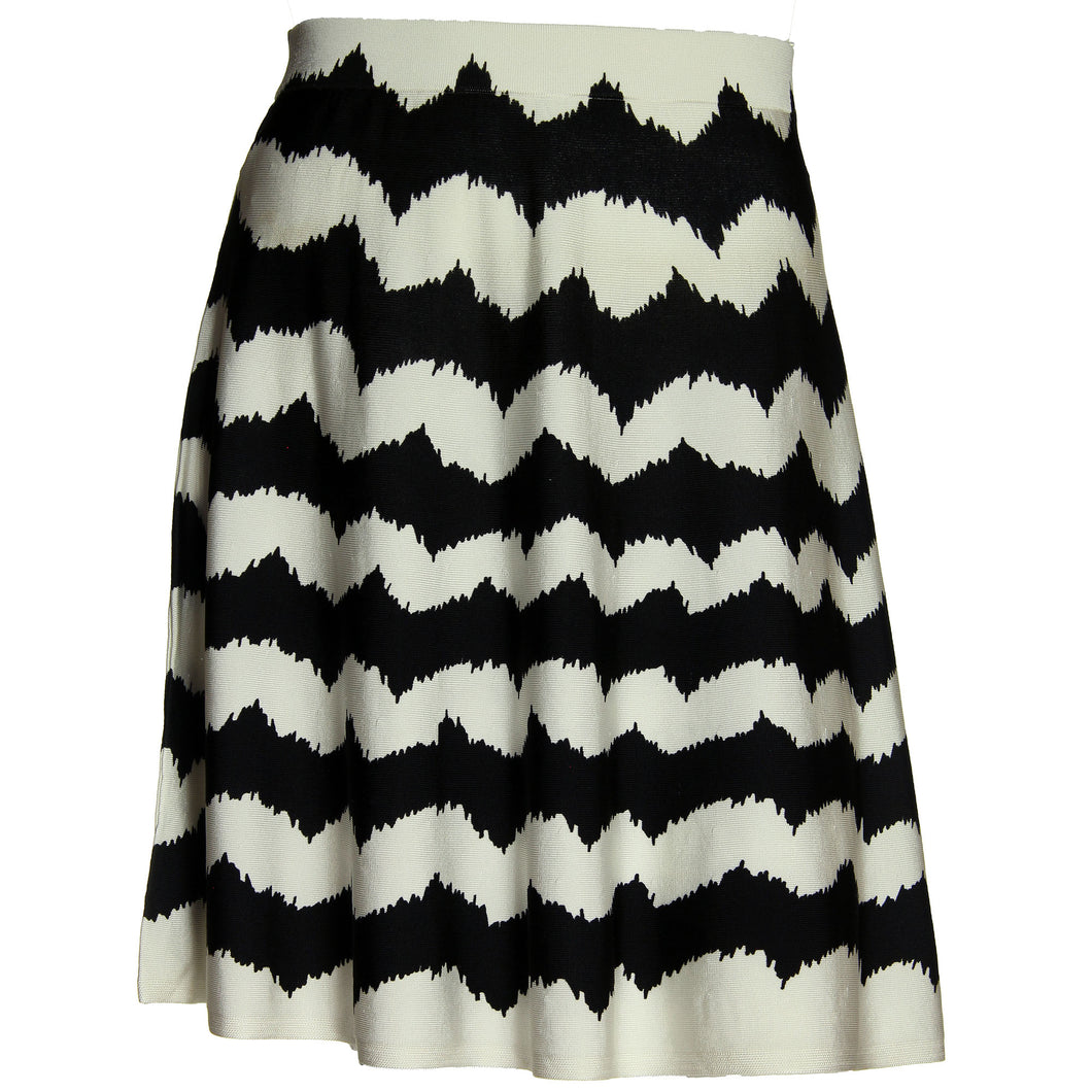 INC Black/White Zig Zag Striped Pull On A-Line Skirt