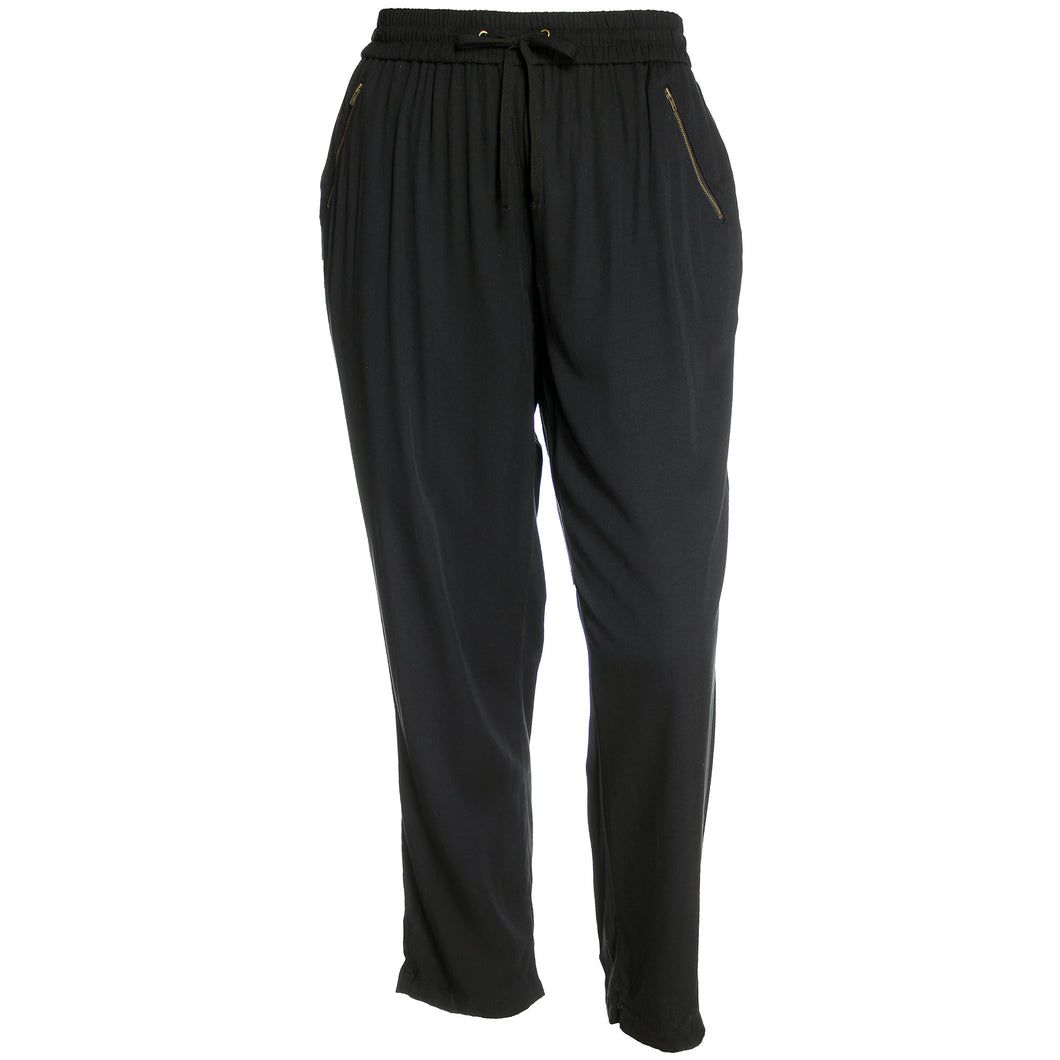 Style & Co Black Straight Leg Zipper Pocket Pull On Pants