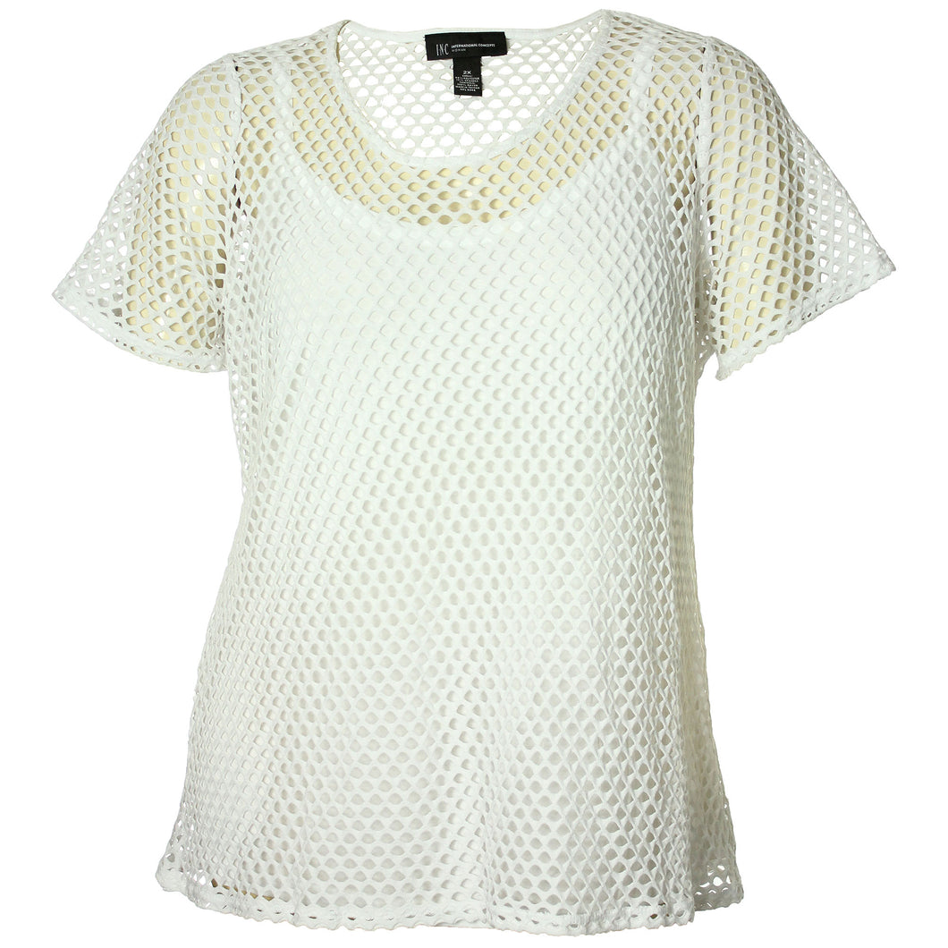 INC White Short Sleeve Mesh Shirt & Camisole