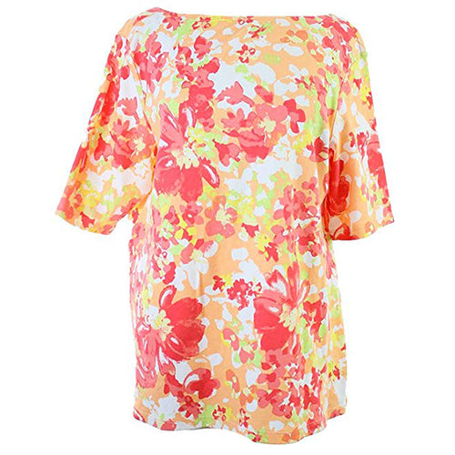 Charter Club Floral Print Short Sleeve Cotton Top Plus Size
