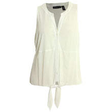 INC White or Yellow Sleeveless Tie Front Button Down Shirt