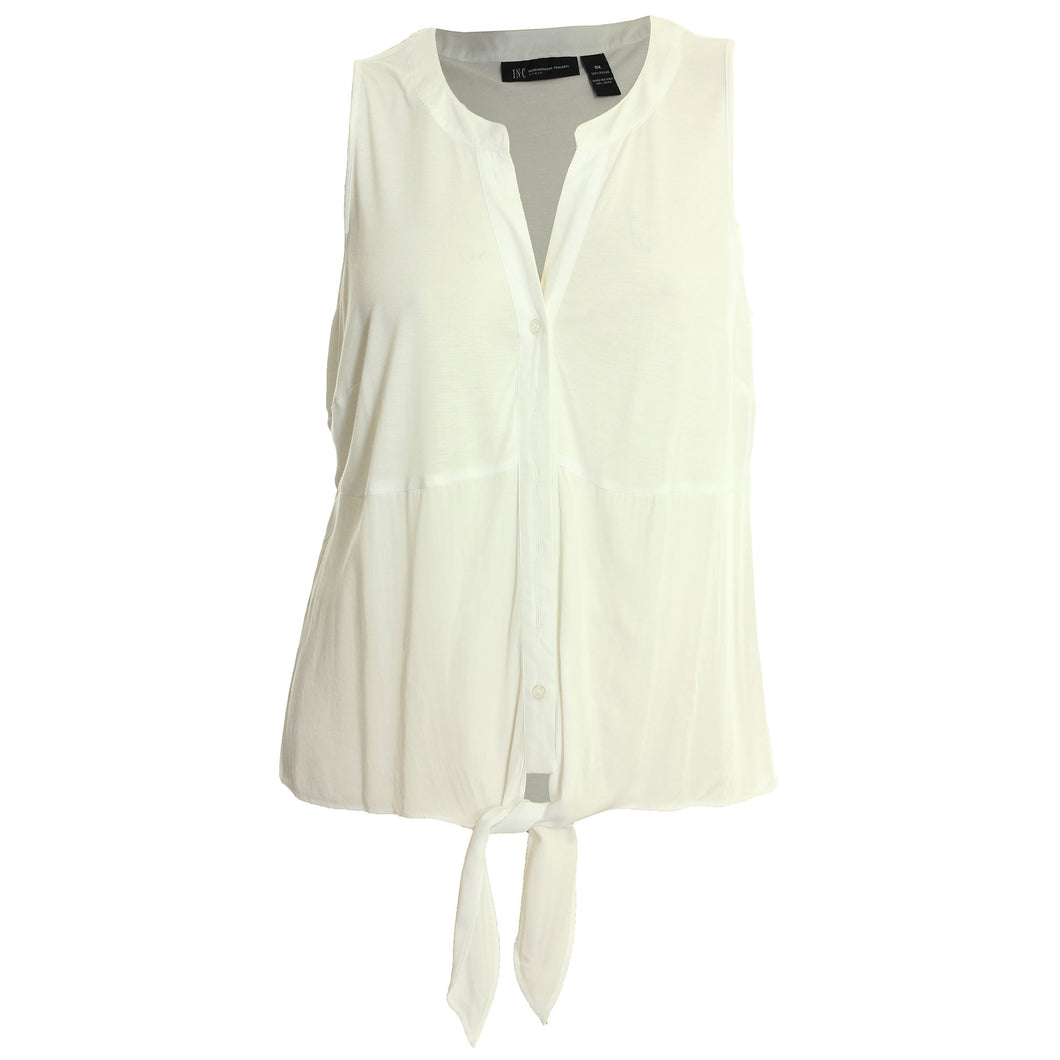 INC White Sleeveless Tie Front Button Down Shirt