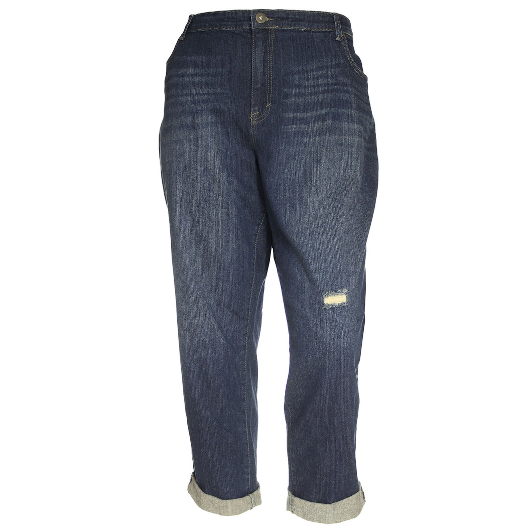 Style & Co Blue Denim Slim Leg Mid-Rise Distressed Jeans