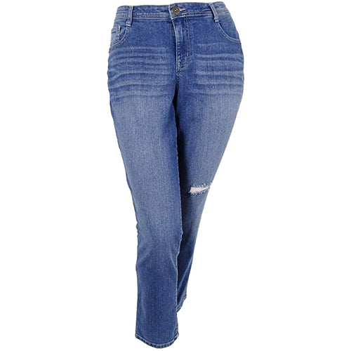 Style & Co Blue Stretch Denim Mid-Rise Slim Leg Distressed Jeans Plus Size