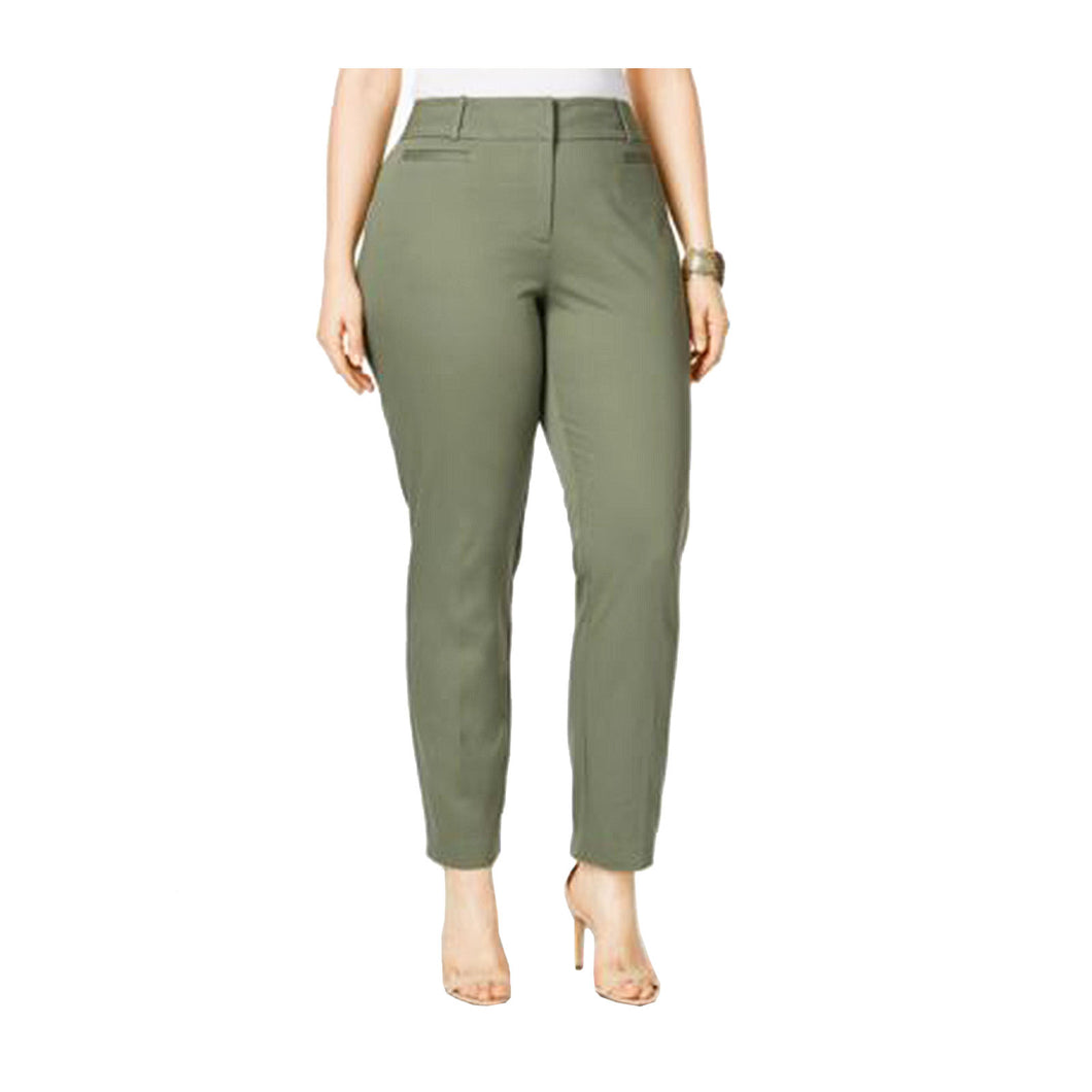 Style & Co Green Mid-Rise Slim Ankle Pants Plus Size