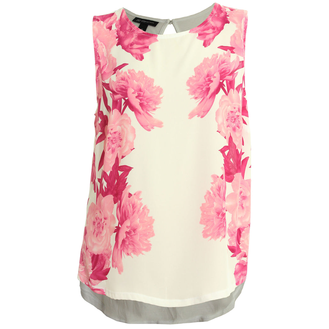 INC Multi Color Floral Print Sleeveless Blouse