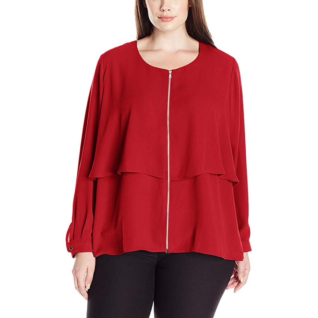 NY Collection Red Long Sleeve Zip Front Layered High-Low Blouse Plus Size