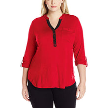 NY Collection Red 3/4 Sleeve Lace Trim High-Low Knit Top Plus Size