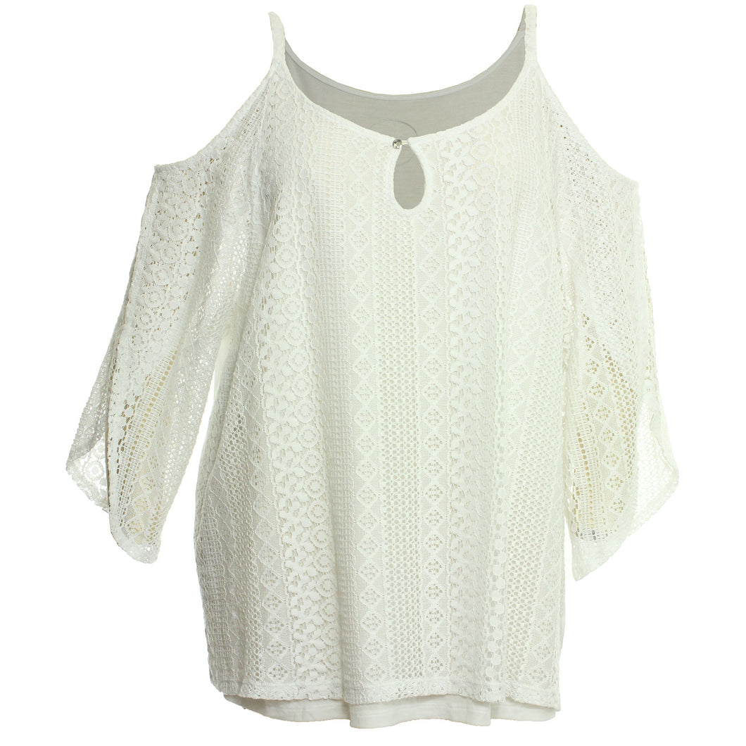 INC White Cold Shoulder Split Angel Wing Sleeve Lace Blouse