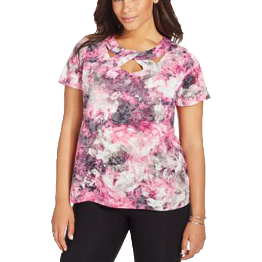 INC Multi Color Floral Print Short Sleeve Cutout Neck Knit Top Plus Size