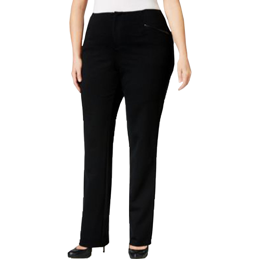 INC Black Faux Leather Trim Straight Leg Pants Plus Size