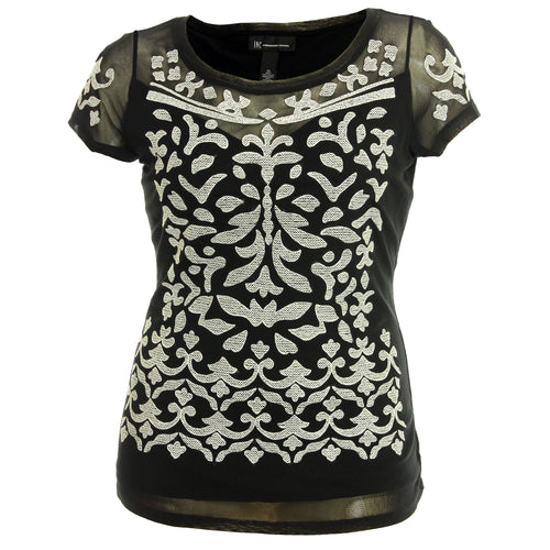 INC Black Short Sleeve Embroidered Illusion Shirt