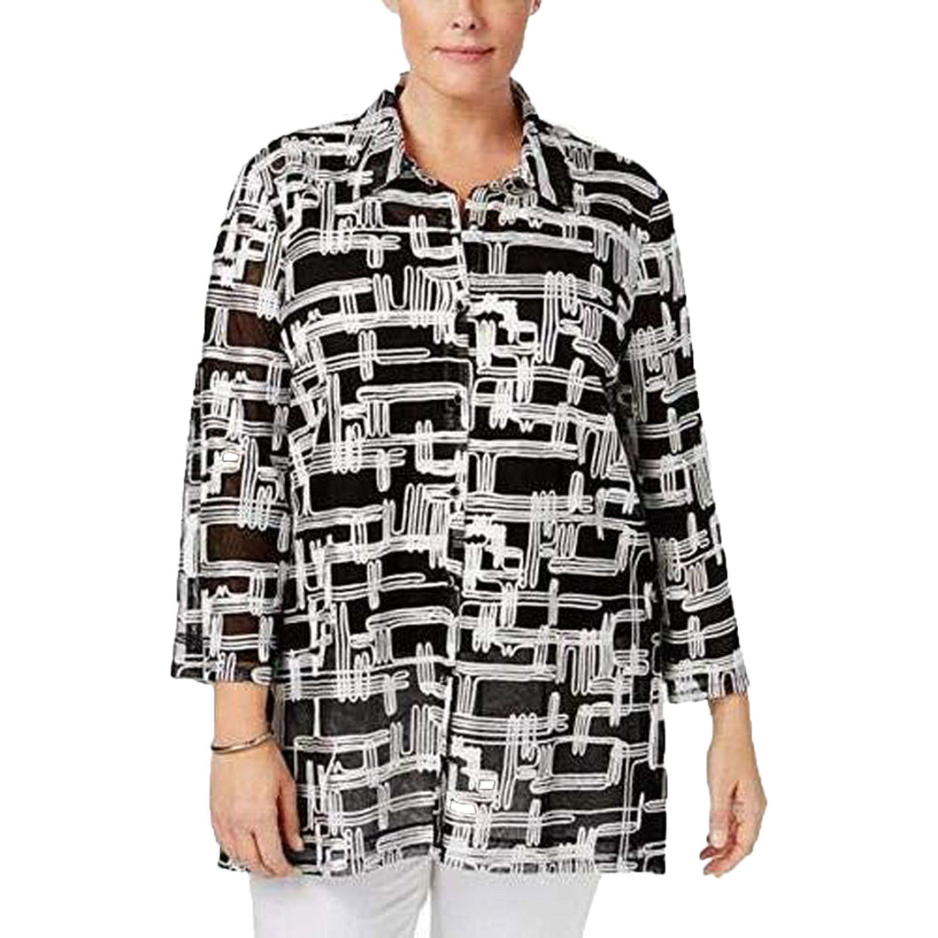 JM Collection Black / White 3/4 Sleeve Button Front Mesh Jacket Plus Size