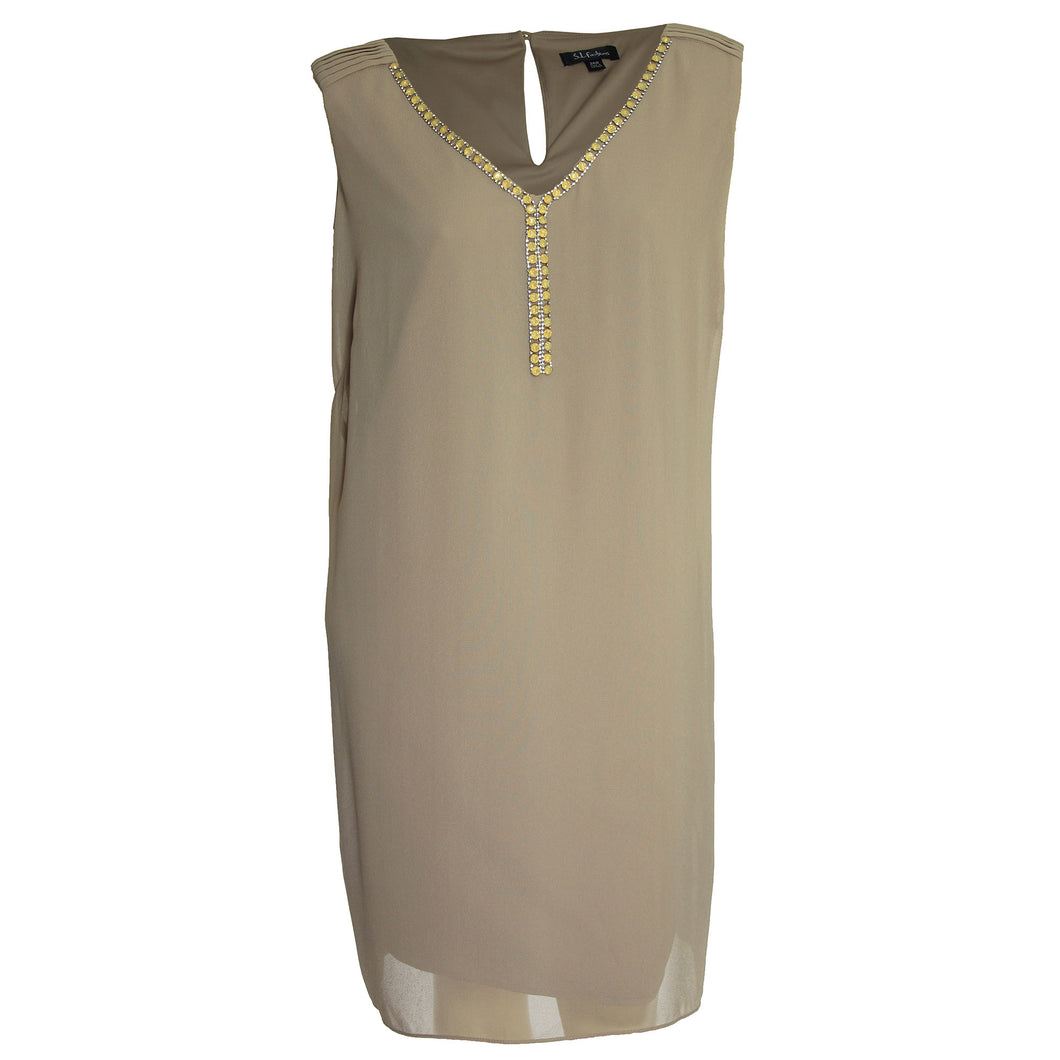 SL Fashions Beige Sleeveless Embellished Shift Dress
