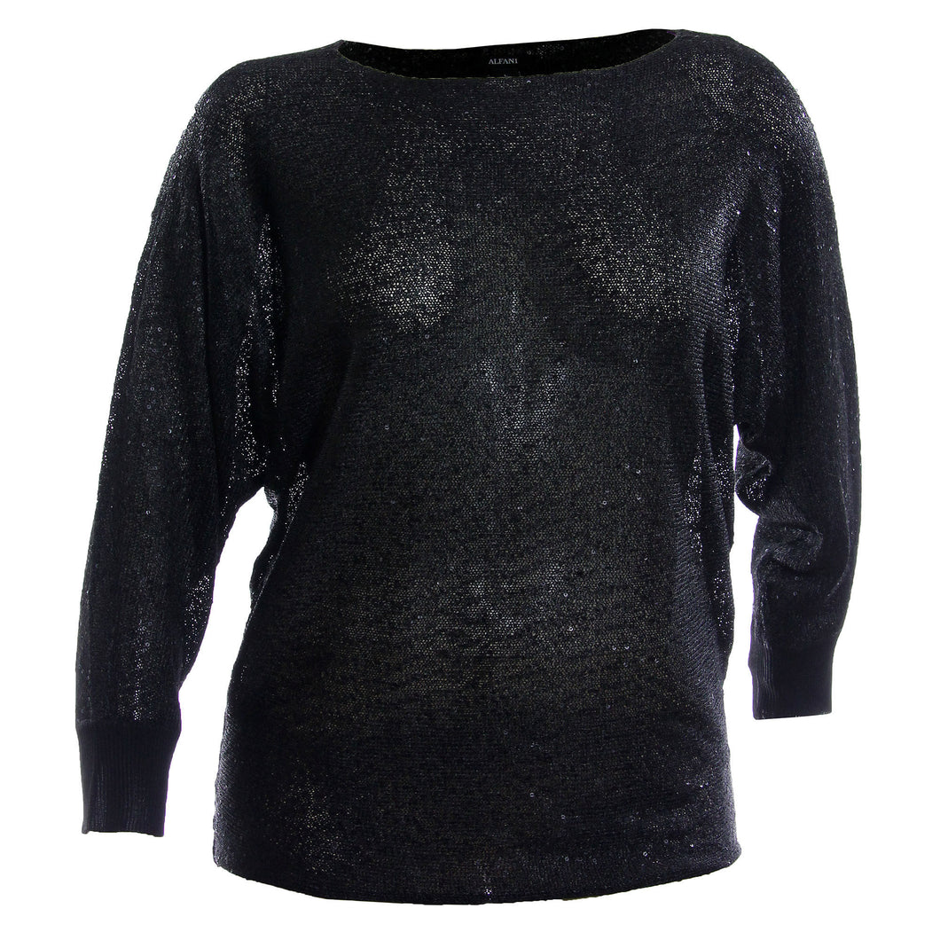Alfani Black Long Dolman Sleeve Sequin Sweater