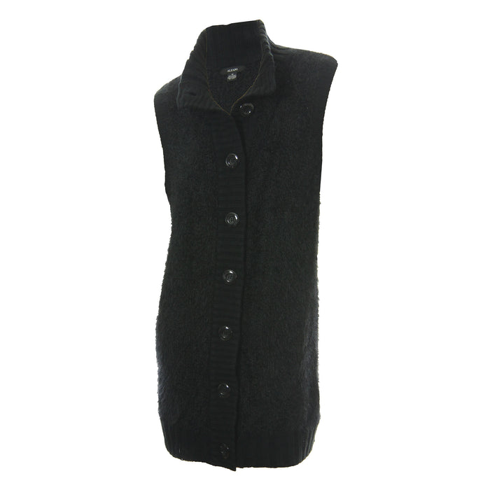 Alfani Black Fuzzy Knit Button Front Sweater Vest