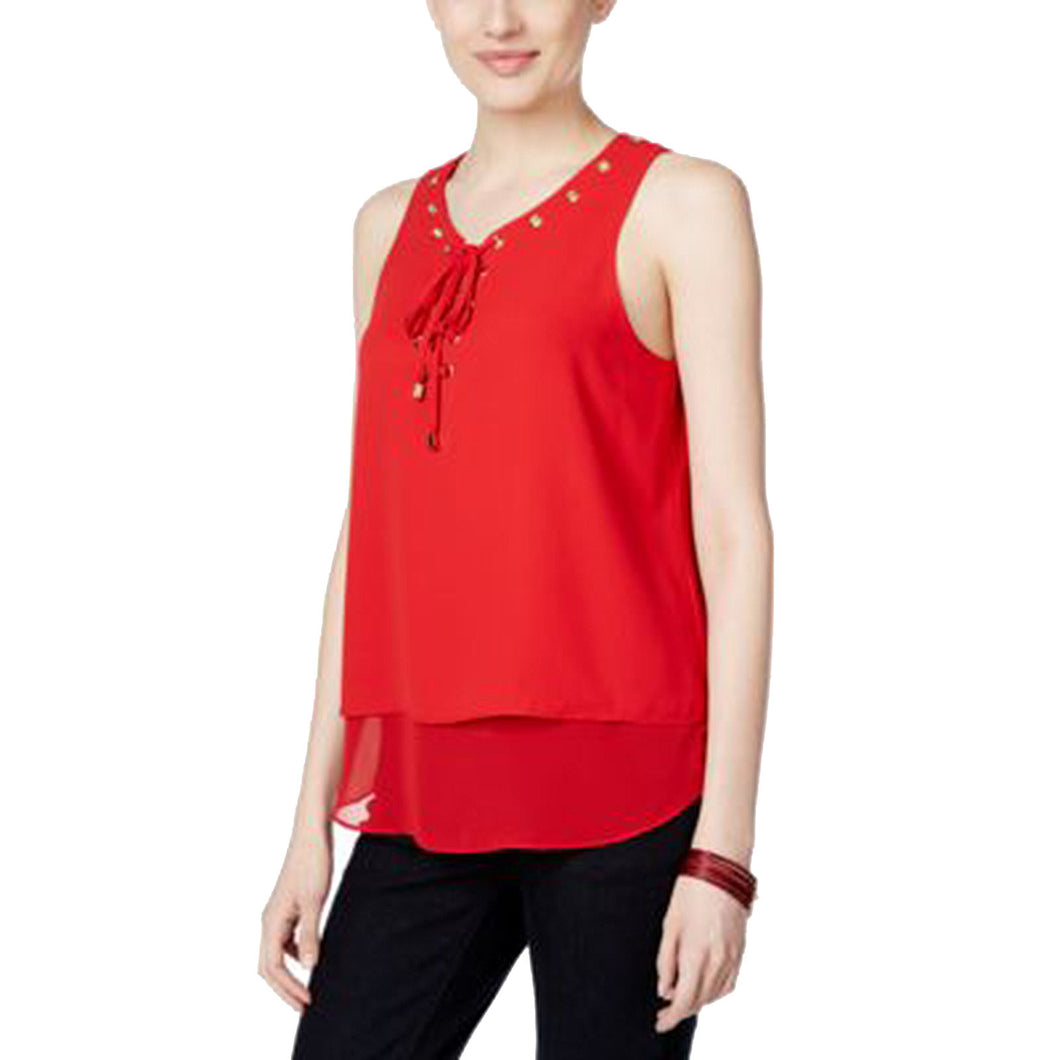 INC Red Sleeveless Lace-Up Double Layer Tank Top Blouse