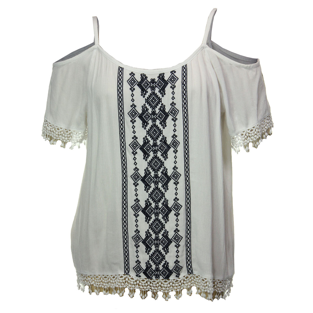 INC White Embroidered Cold Shoulder Short Sleeve Blouse