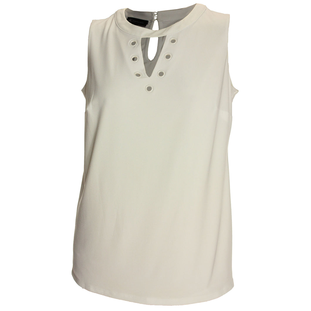 INC White Sleeveless Grommet Embellished Knit Top
