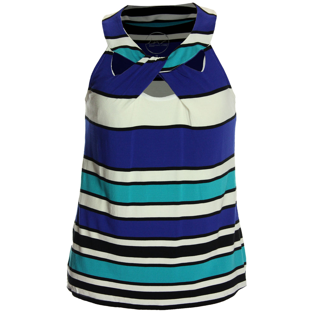 INC Striped Sleeveless Cutout Shirt
