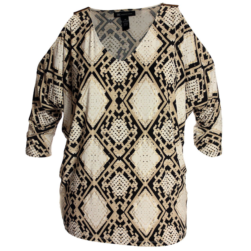 INC Snake Print 3/4 Sleeve Cold Shoulder Top