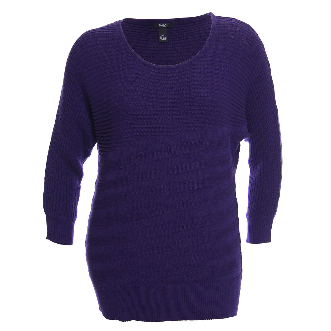 Alfani Purple Long Sleeve Scoop Neck Mixed Stitch Pull Over Sweater