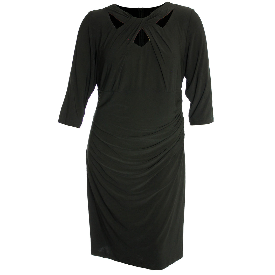 INC Black 3/4 Sleeve Cutout Neckline Sheath Dress