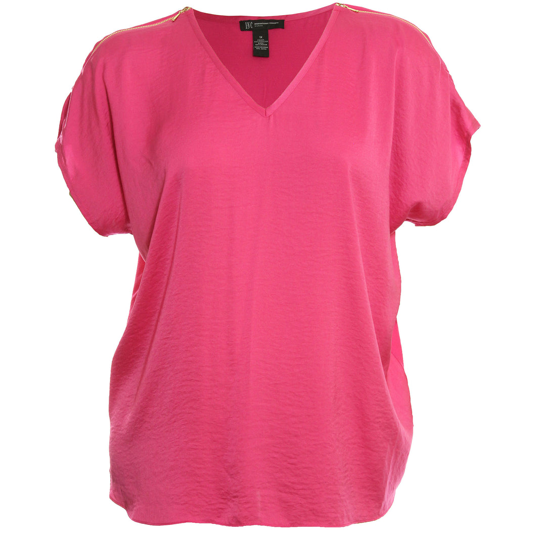 INC Pink Short Sleeve Zipper Detail Blouse