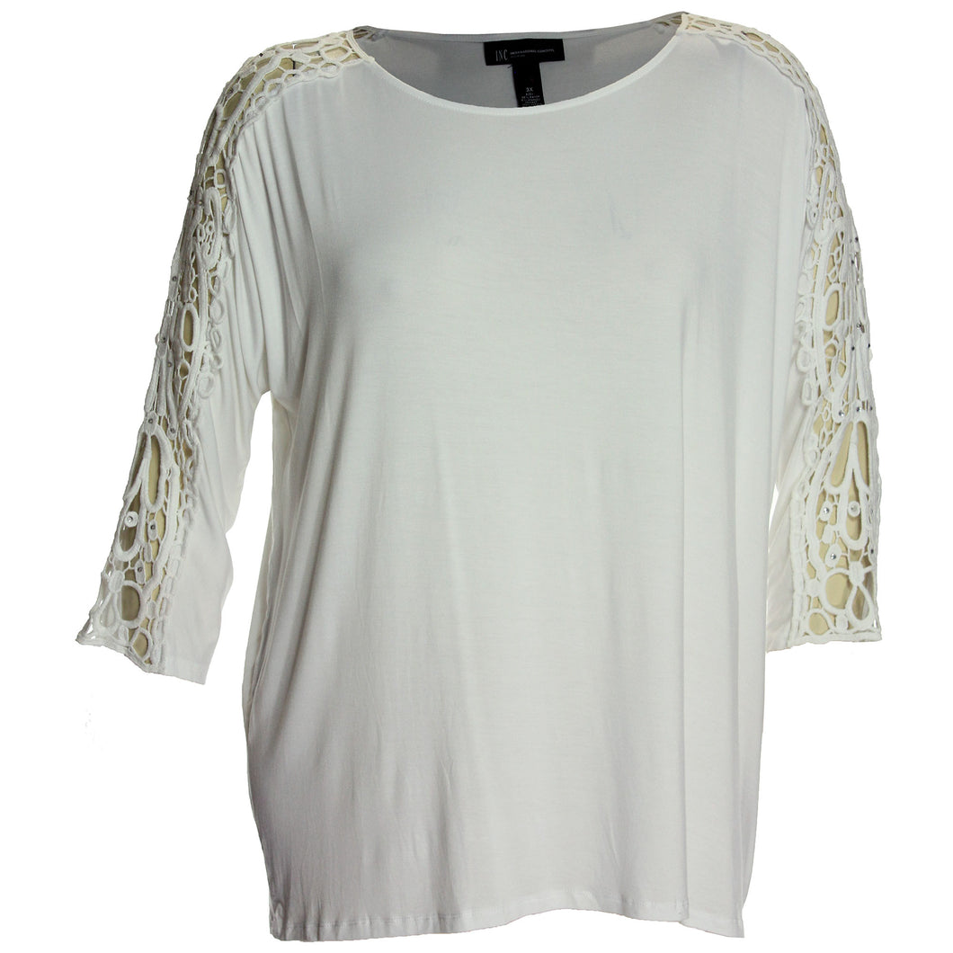 INC White 3/4 Embellished Crochet Sleeve Top Plus Size