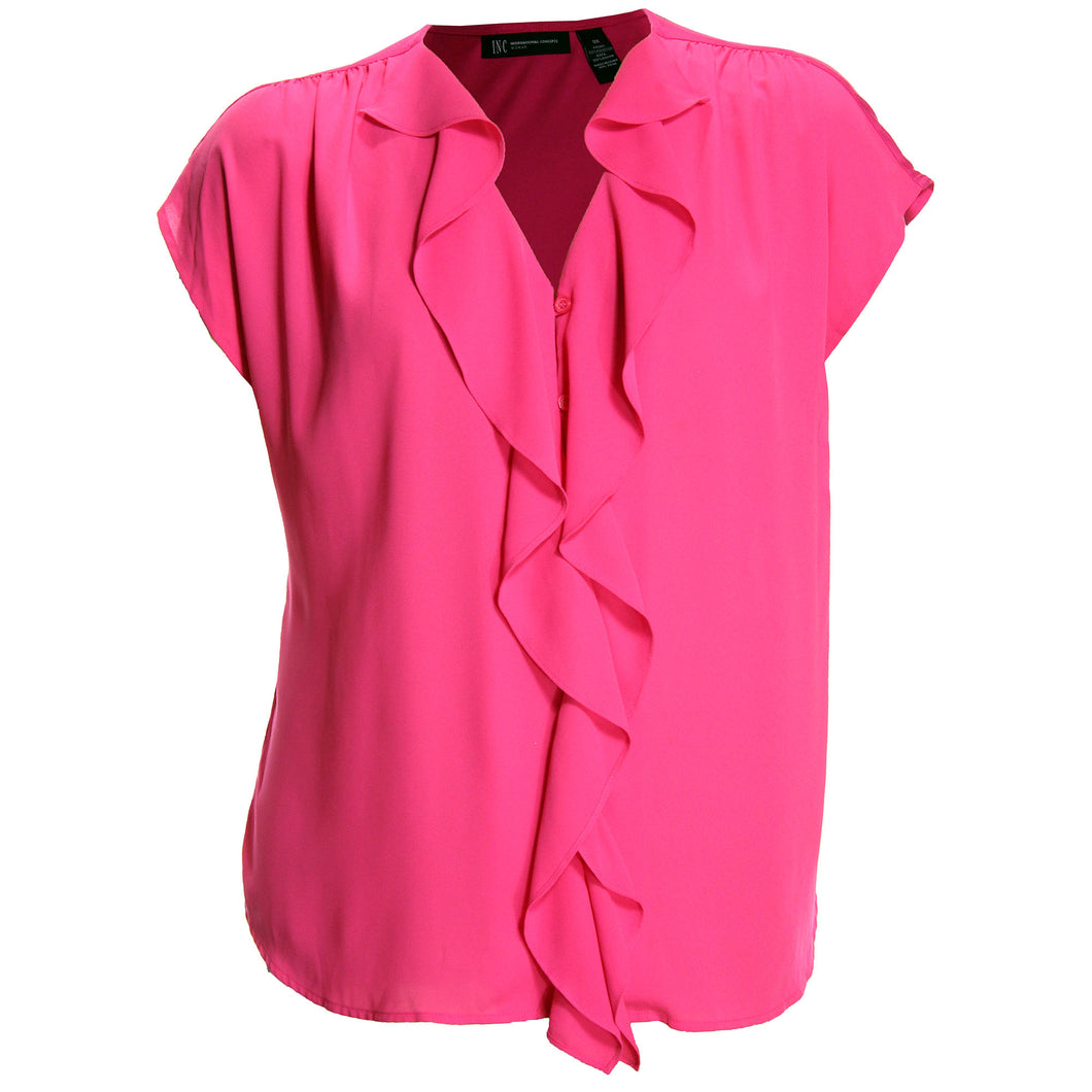 INC Pink Short Sleeve Ruffle Front Button Down Blouse