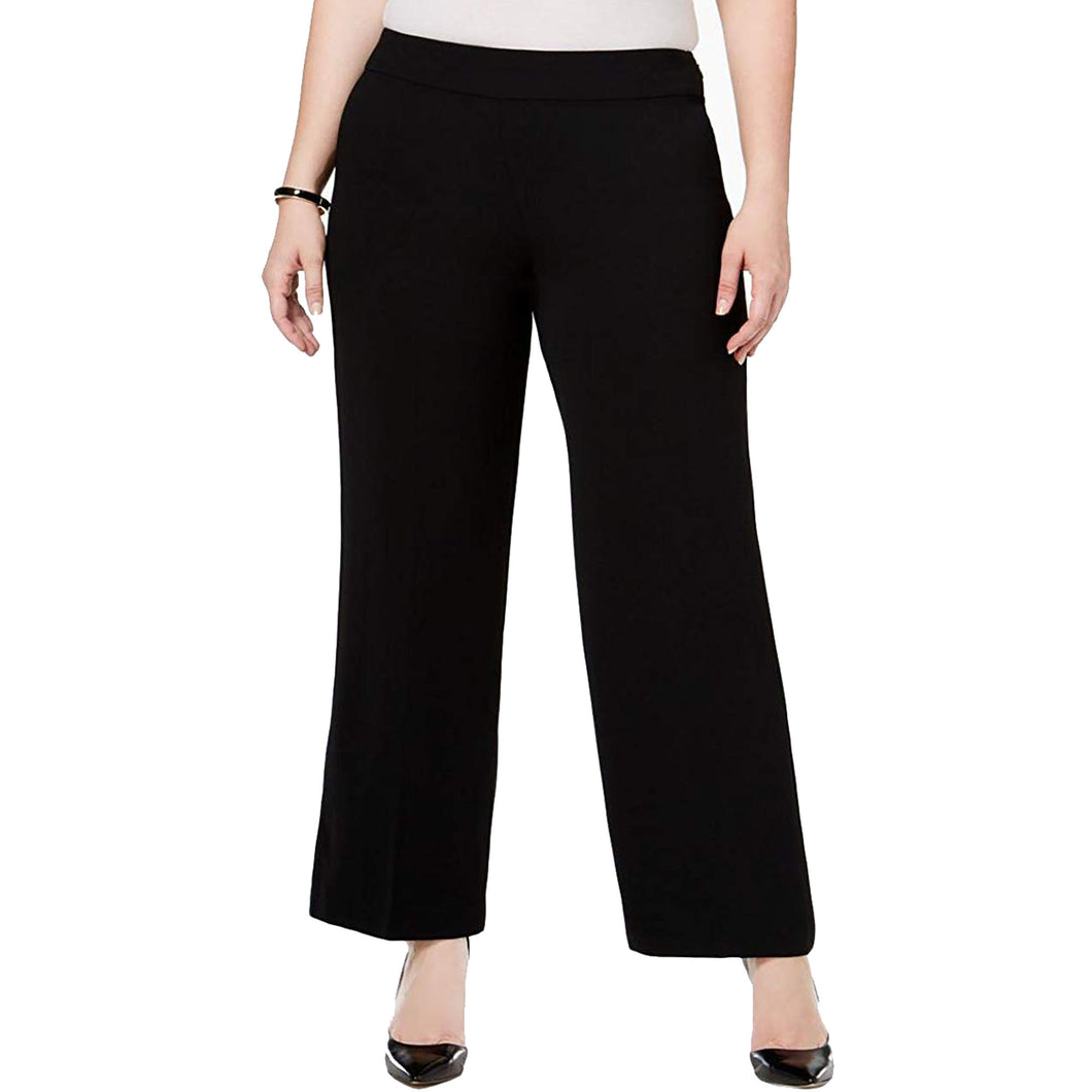 Alfani Black Wide Leg Side Zip Slacks Pants Plus Size