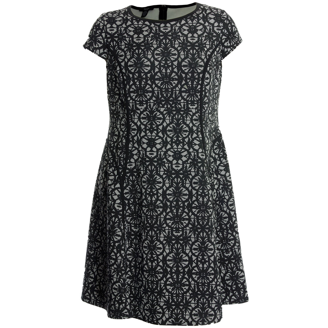 Alfani Black & White Lace Print Cap Sleeve Fit & Flare Dress