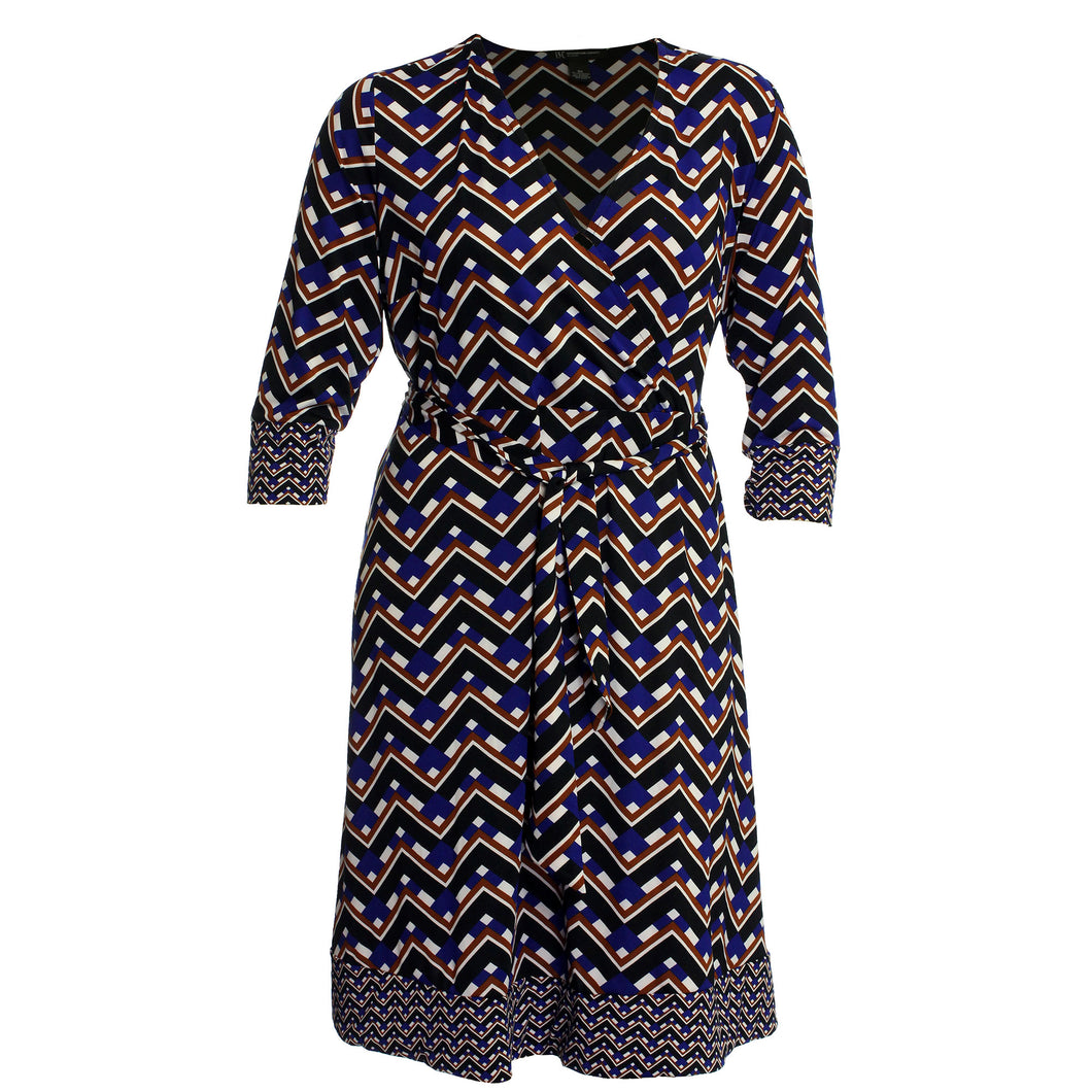 INC Multi Color Print 3/4 Sleeve Belted Faux Wrap Dress