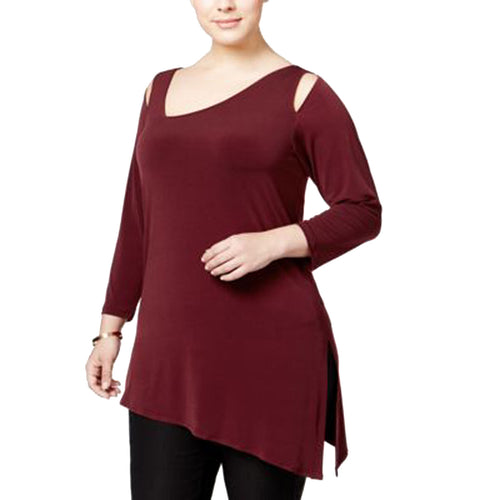 Alfani Maroon Cold Shoulder Asymmetric Hem Knit Top Plus Size