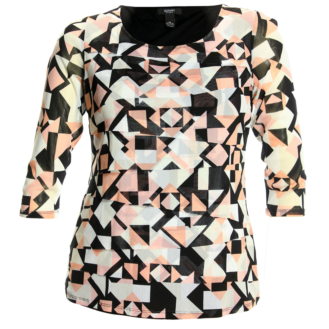 Alfani Multi Color Print 3/4 Sleeve Tiered Shirt
