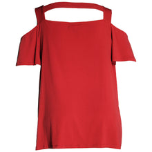 INC Red or Black Short Sleeve Cold Shoulder Strappy Knit Top
